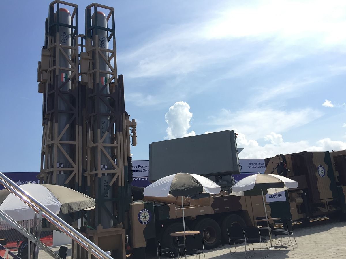 Nirbhaya Missile System and launcher on display. (Source: BloombergQuint)