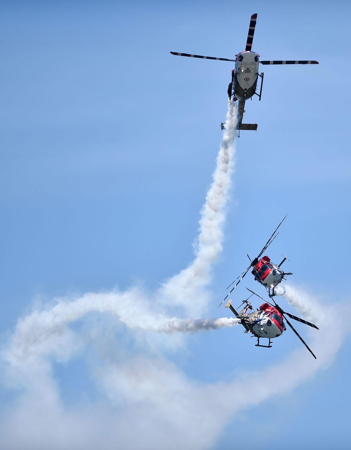 Indian Air Forces Sarang display team. Source: PTI Photo