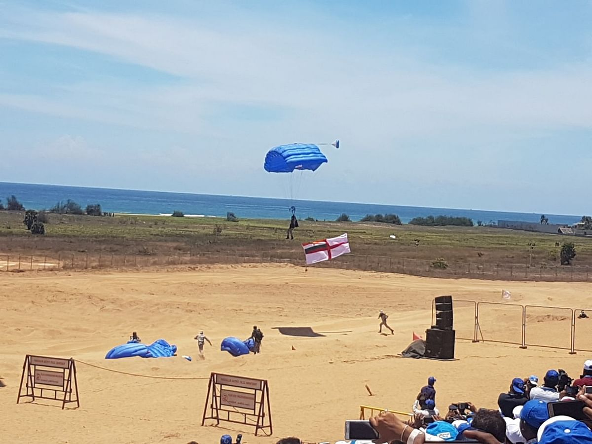 Marcos para-trooped from 10,000 feet as part of the Live demonstration at the 10th Defence Expo. (Source: PTI)