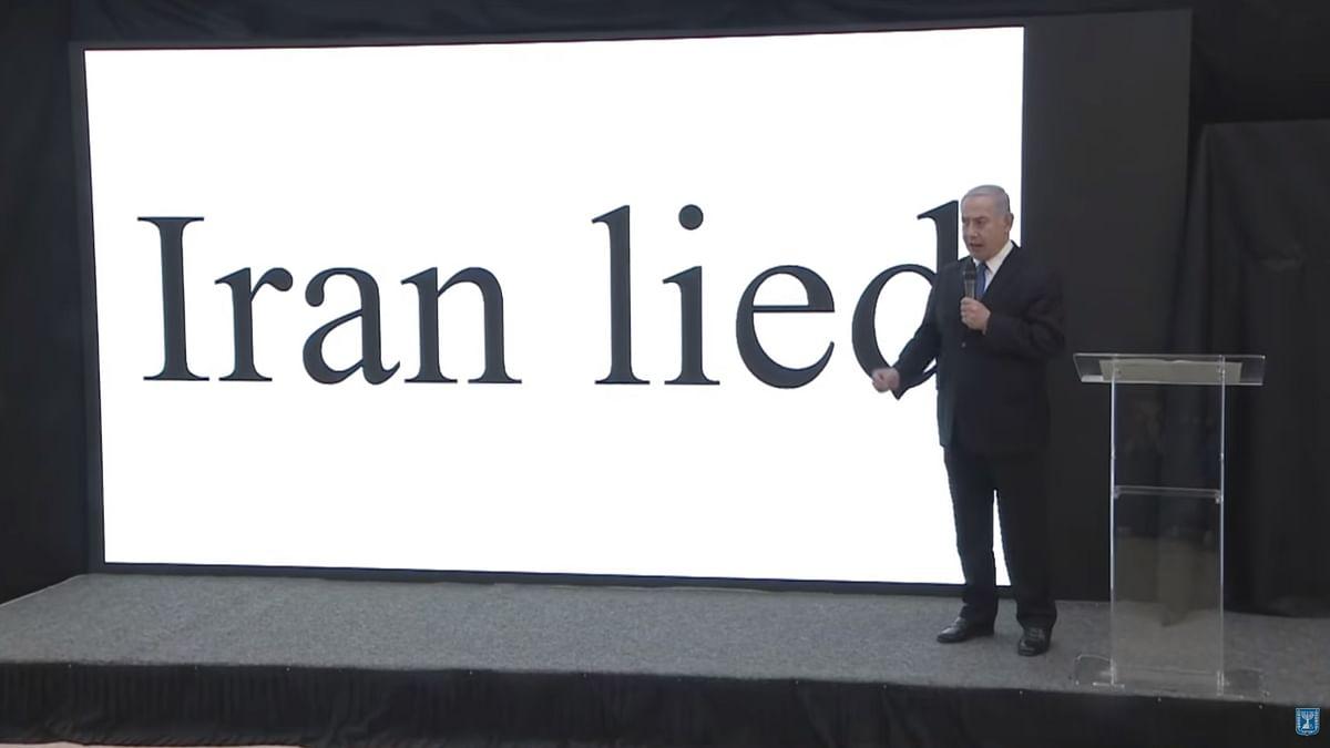 "Israel's Prime Minister Benjamin Netanyahu makes a presentation on April 30, 2018. (Image: Twitter, YouTube / <a href=""https://twitter.com/netanyahu"">@<b>netanyahu</b></a>)"