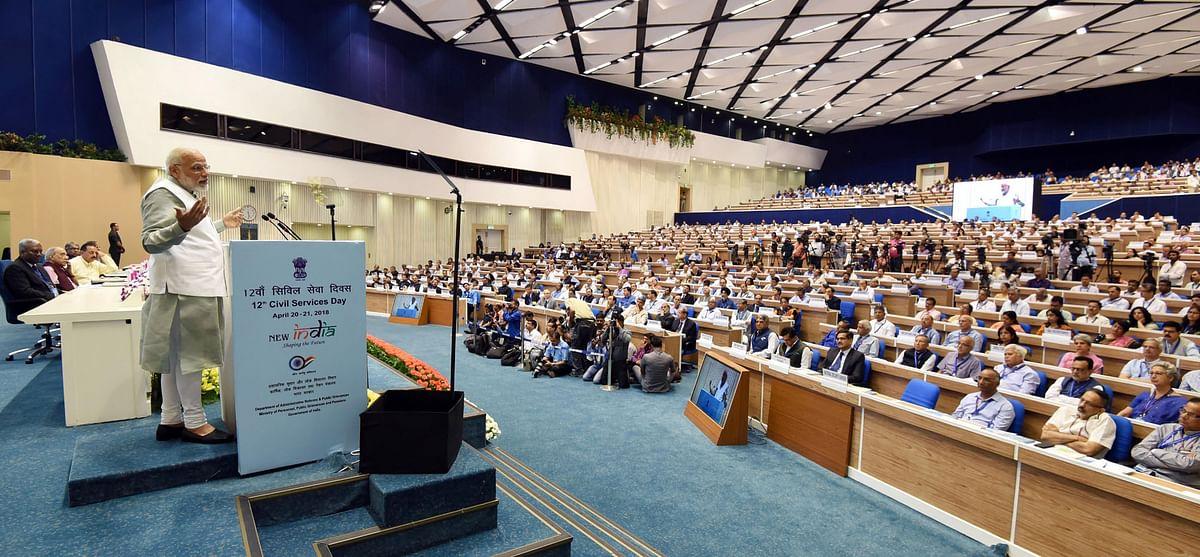 Prime Minister Narendra Modi addresses IAS officers, on 'Civil Services Day', April 21, 2018. (Photograph: PIB)