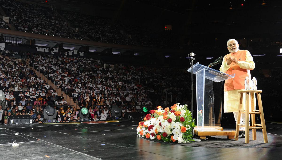 Prime Minister  Narendra Modi addressing the Indian Community, at Madison Square Garden, in New York on September 28, 2014. (Photograph: PIB)