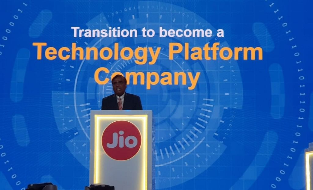 Mukesh Ambani, Chairman, Reliance Industries, at the company's AGM, on July 5, 2018. (Photograph: Sajeet Manghat/BloombergQuint)