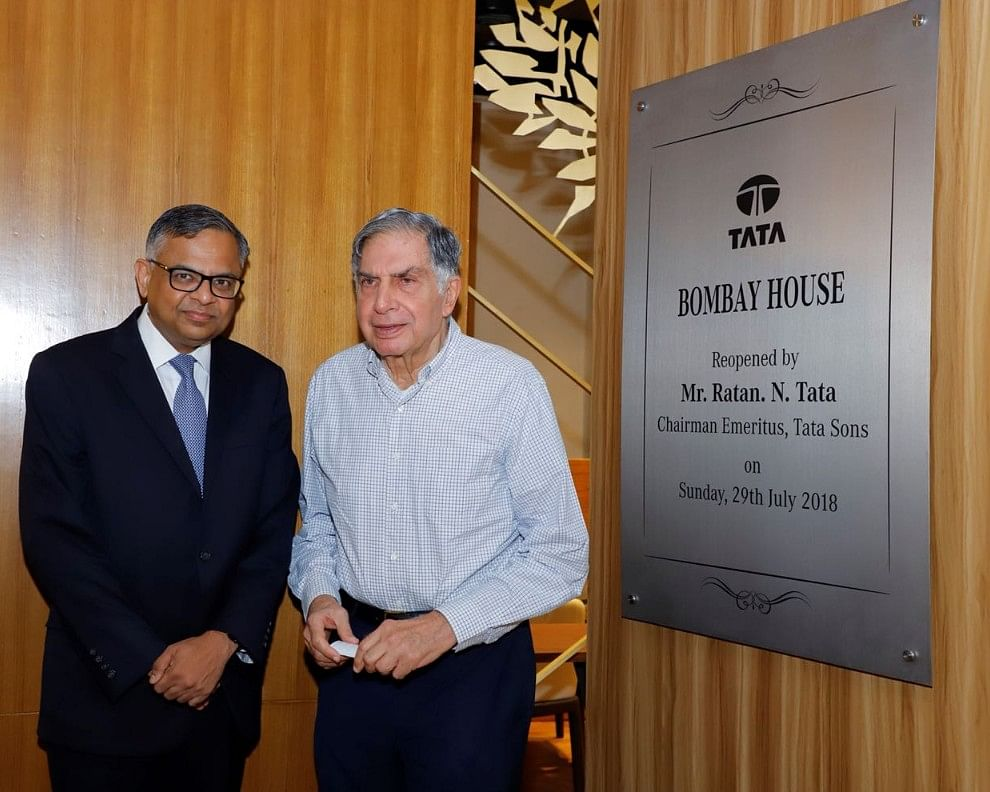 Former Chairman of Tata Sons Ratan Tata with the current Chairman N Chandrasekaran, at the reopening of Bombay House. (Source: Tata Sons)