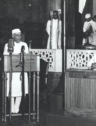 Jawaharlal Nehru making his 'Tryst with Destiny' speech at the Midnight Session of Parliament, on August 15, 1947. (Photograph: NMML)