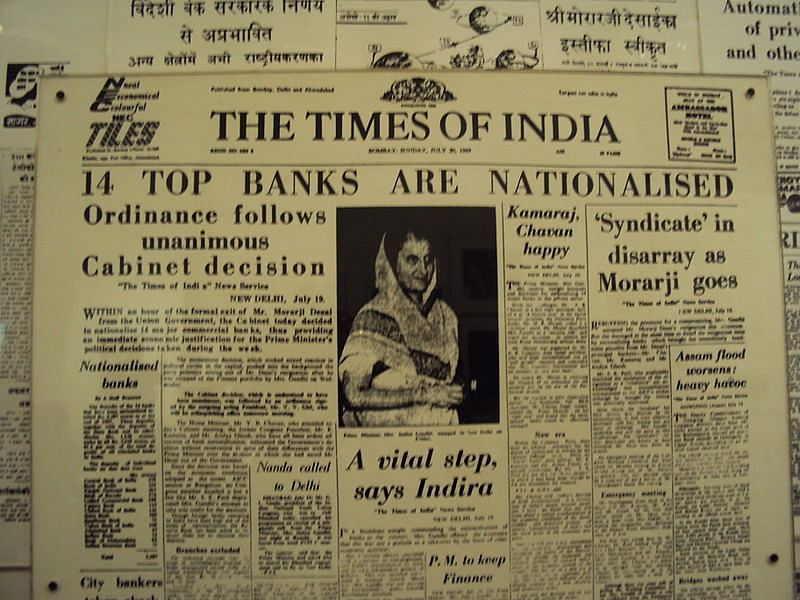 The Times of India on July 20, 1969 as India's top 14 banks were nationalised. (Image: The Times of India / Indian National Congress)