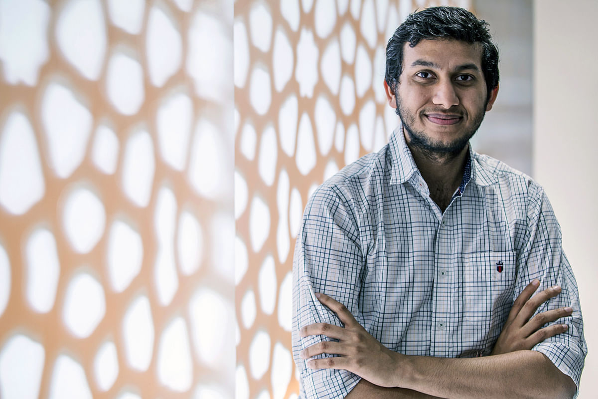 Ritesh Agarwal, founder and chief executive officer of Oravel Stays Pvt, owner and operator of Oyo Rooms, poses for a photograph in New Delhi, India (Photographer: Prashanth Vishwanathan/Bloomberg)