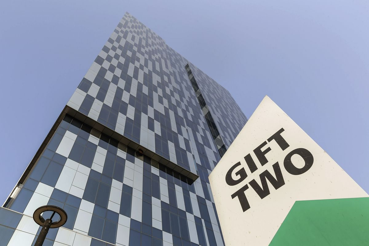 Gift Two tower stands in Gujarat International Finance Tec-City. (Photographer: Dhiraj Singh/Bloomberg)