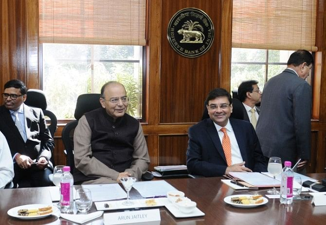 Finance Minister Arun Jaitley with RBI Governor Urjit Patel, in New Delhi, on Feb. 11, 2017. (Photograph: PIB)
