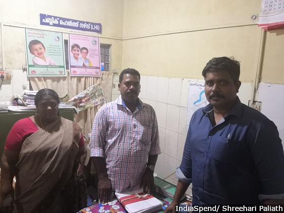 The health team in Ranni taluk hospital including Vaishakh VR and Anil Kumar,  junior health inspector, who went to camps to ensure doxycycline tablets and other medical needs were available.