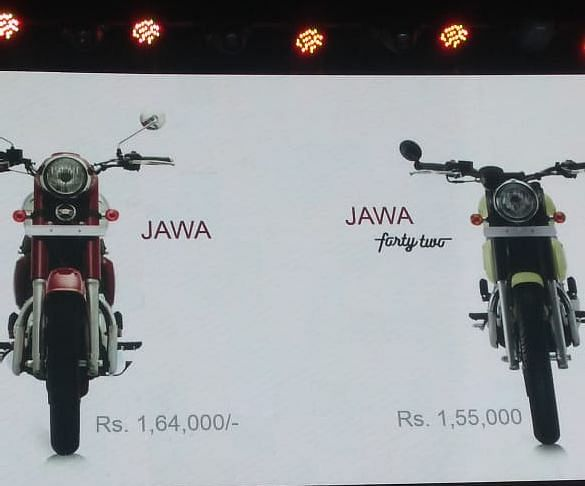 Pricing of Jawa and Jawa 42 models displayed at the launch event. (Source: BloombergQuint)