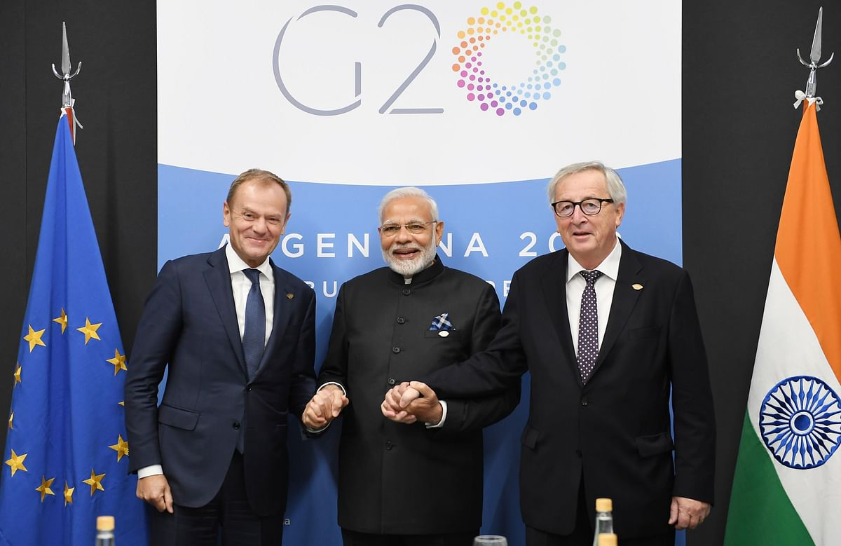 Prime Minister Narendra Modi meets the Jean-Claude Juncker and Donald Tusk, in Buenos Aires, on Dec. 1, 2018. (Photograph: PIB)