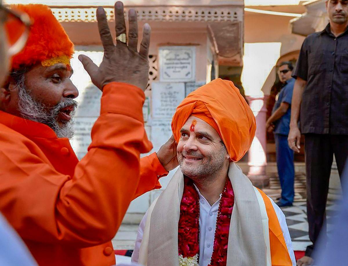Rahul Gandhi at a temple in Pushkar, Rajasthan. (Photograph: PTI)