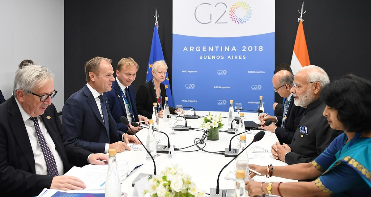 Prime Minister Narendra Modi meeting Jean-Claude Juncker and Donald Tusk, in Buenos Aires, Argentina on Dec. 1, 2018. (Photograph: PIB)