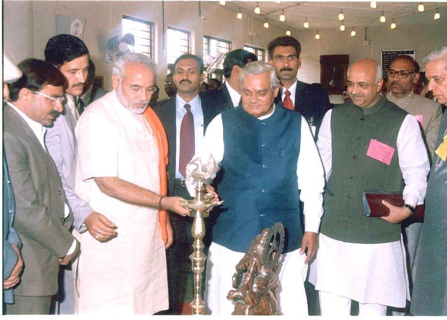Prime Minister Atal Bihari Vajpayee with Gujarat Chief Minister Narendra Modi in Bhuj on Jan. 14, 2004. (Photograph: PIB)