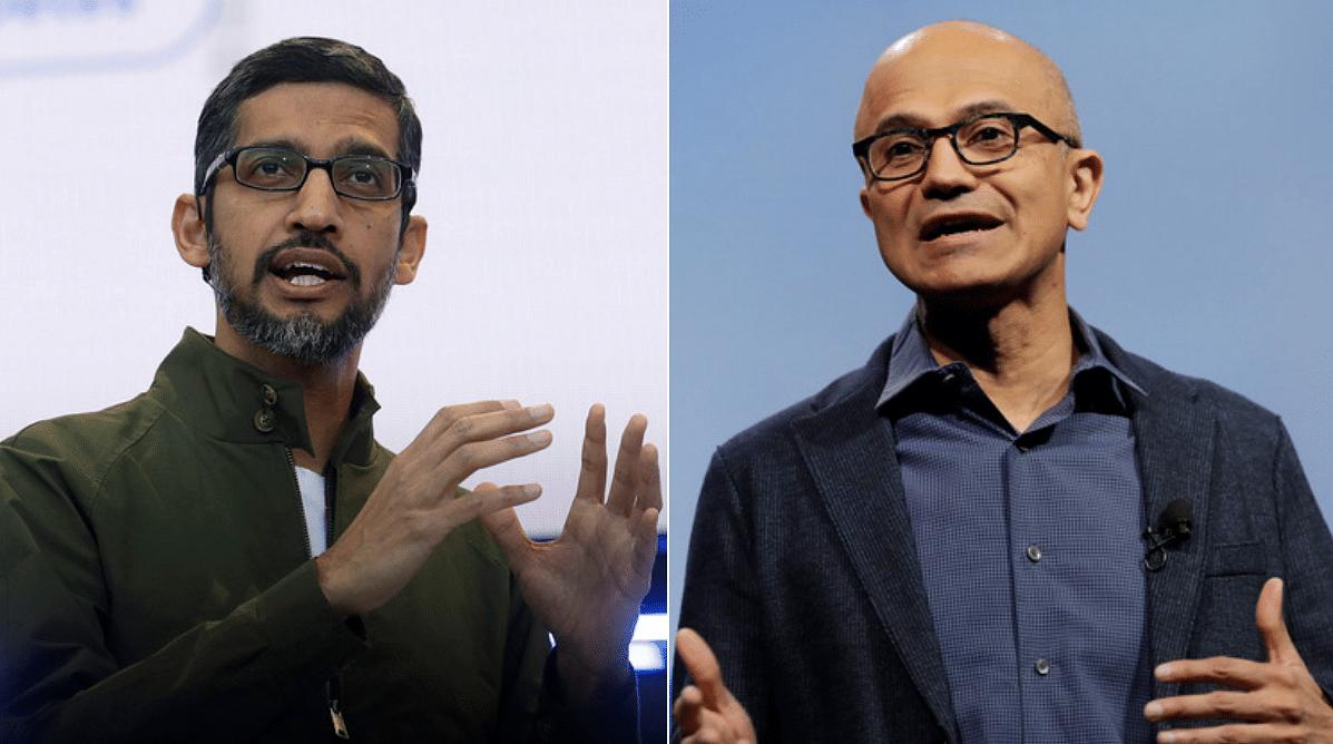 Sundar Pichai (left) and Satya Nadella (right). (Source: Bloomberg)