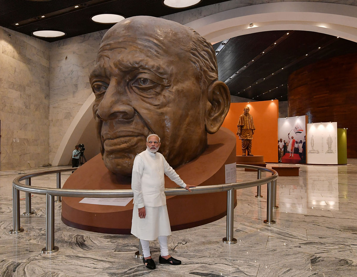 Prime Minister Narendra Modi at the 'Statue of Unity' Museum, in the Narmada district of Gujarat, on Oct.  31, 2018. (Photograph: PIB)