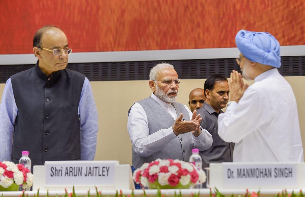 Finance Minister Arun Jaitley, Prime Minister Narendra Modi, and former Prime Minister Manmohan Singh in New Delhi, on Sept. 2, 2018. (Photograph: PTI)