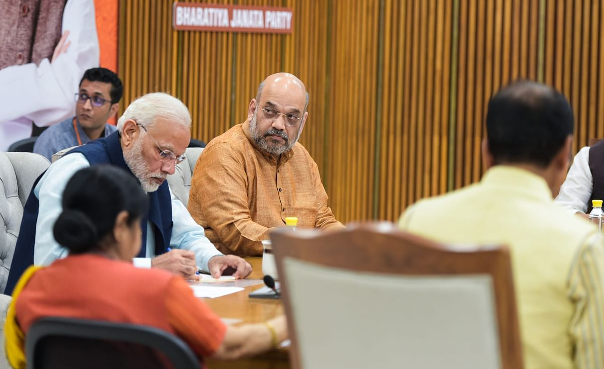 Prime Minister Narendra Modi and BJP President Amit Shah at a party meeting, in New Delhi, on Nov. 1, 2018. (Photograph: PTI)