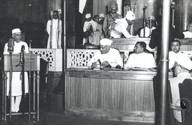 Jawaharlal Nehru, on the night of Aug. 14, 1947. (Photograph: NMML)