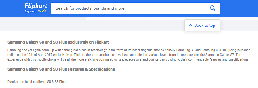 An image of the Flipkart website showcasing an exclusive Samsung phone offer.