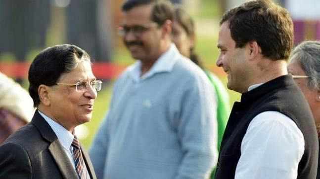 Then Chief Justice of India Dipak Misra with Congress President Rahul Gandhi. (Photograph: PTI)