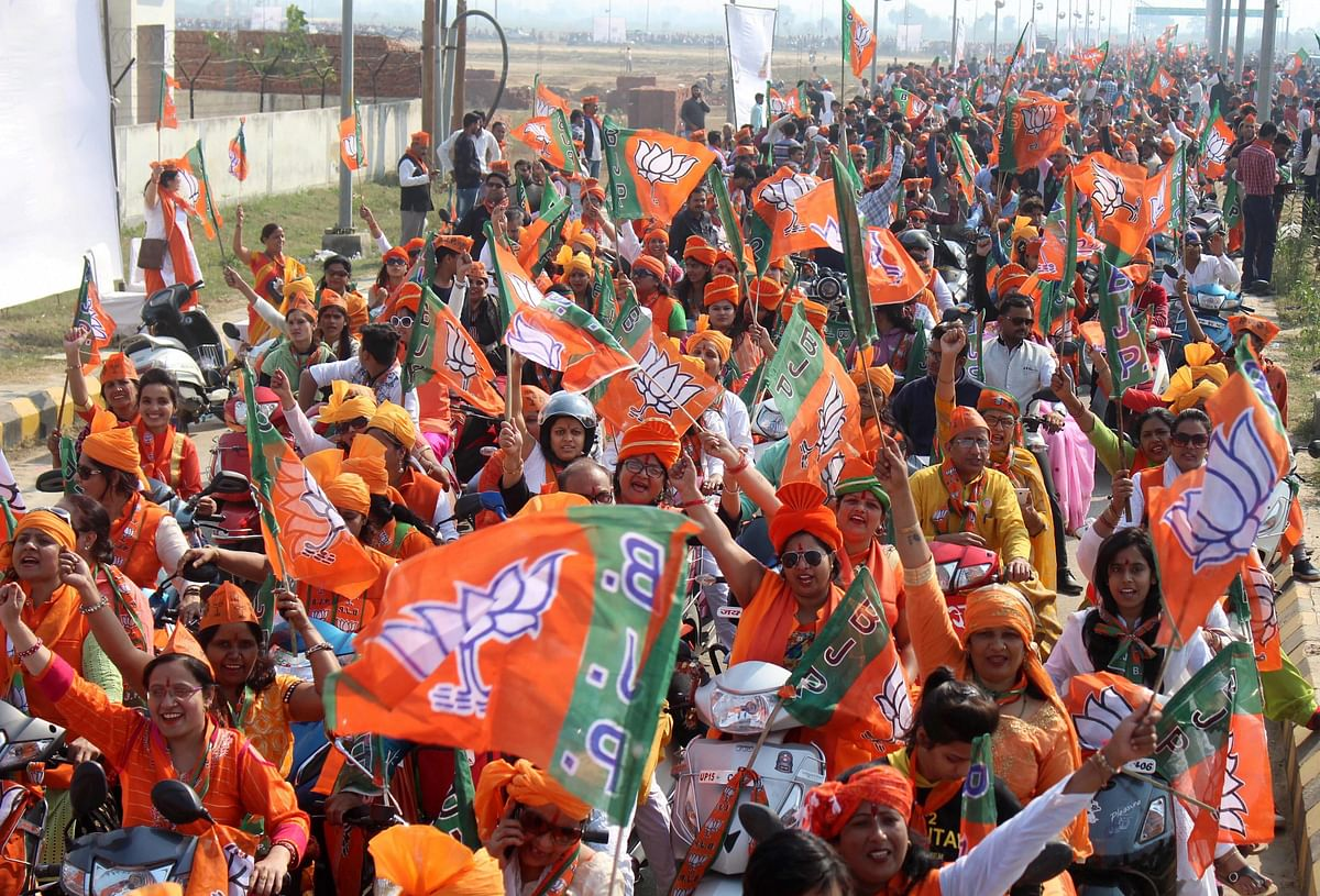 BJP workers take part in a bike rally. (Photograph: PTI)