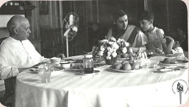 Jawaharlal Nehru with Indira Gandhi, Rajiv Gandhi and Sanjay Gandhi at Teen Murti House. (Photograph: NMML)