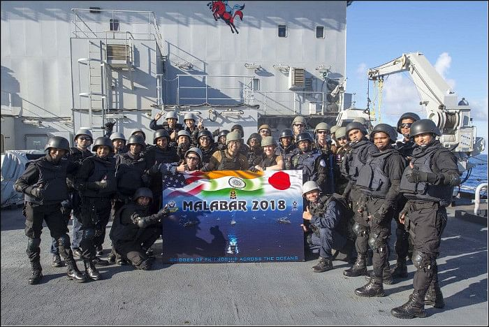The Malabar 2018 trilateral naval exercise involving the United States, Japan and India. (Photograph: Indian Navy)