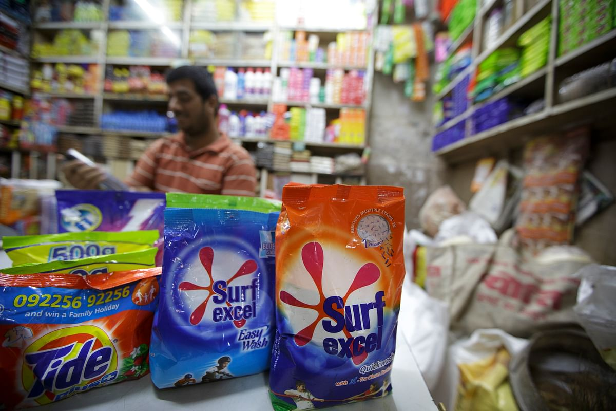 Packages of Hindustan Unilever Ltd. Surf excel laundry detergent are displayed for sale at a store in Mumbai. ( Photographer: Kuni Takahashi/Bloomberg)