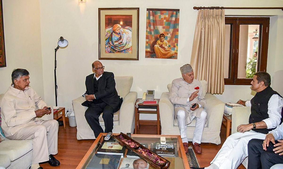 Chandrababu Naidu, Farooq Abdullah, Sharad Pawar, and Praful Patel at a meeting of opposition parties, on  Dec 10, 2018. (Photograph: PTI)