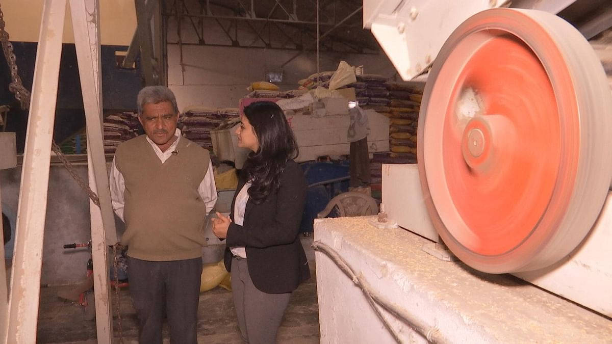 Suresh Patel talks to BloombergQuint at his rice processing mill.