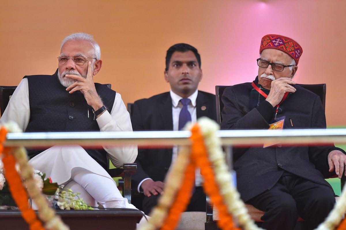 Prime Minister Narendra Modi with LK Advani in New Delhi on Jan. 12, 2019. (Photograph: PTI)
