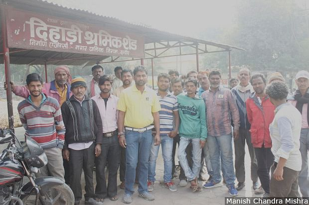 Daily-wage workers gather at the 'Dehadi Shramik Shed', or the Wage Workers' Shed, built by the Indore Nagar Palika Nigam (municipal corporation) at Khajrana Square.