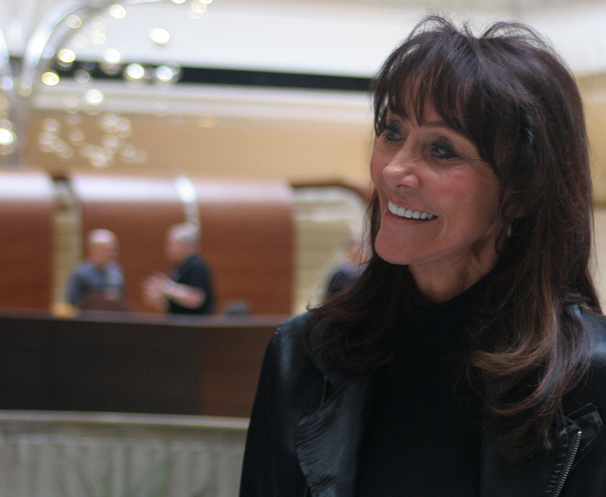 Diane Hendricks, chief executive officer of ABC Supply Co., smiles during a company meeting at a hotel in Rosemont, Illinois, U.S. (Photographer: John McCormick/Bloomberg)