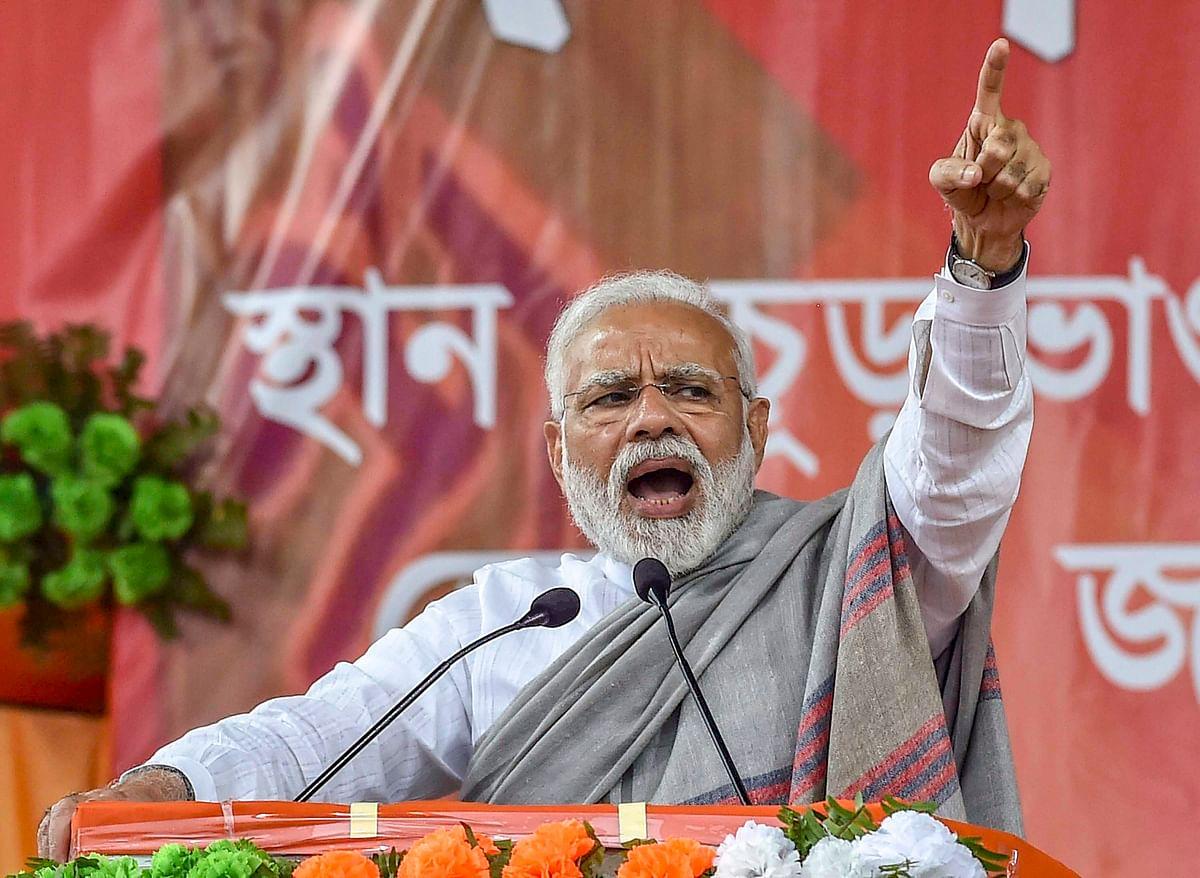 Prime Minister Narendra Modi addresses a rally in Jalpaiguri district of West Bengal, on Feb. 8, 2019. (Photograph: PTI)
