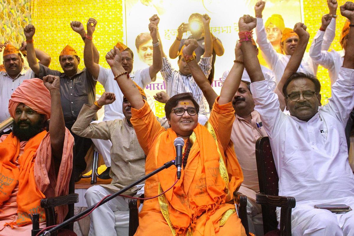 BJP candidate Sadhvi Pragya Singh at party workers' meeting  in Bhopal, on April 18, 2019. (Photograph: PTI)