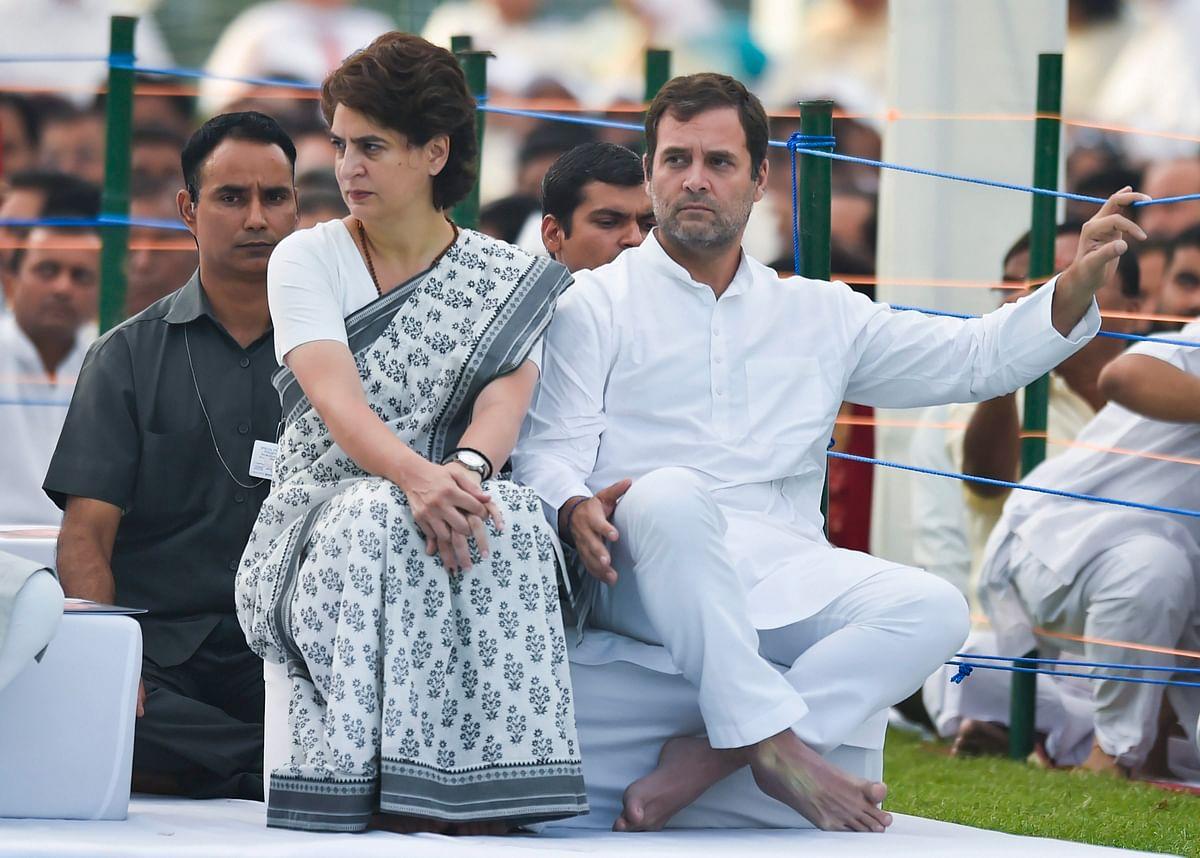 Priyanka Gandhi Vadra and Rahul Gandhi, at Veer Bhumi,  in New Delhi, on May 21, 2019. (Photographer: Ravi Choudhary/PTI)