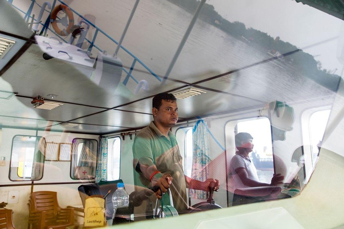 Kanhai Debnath is a shipmaster who regularly navigates the Port of Kolkata. (Photographer: Anshika Varma for Bloomberg Businessweek)