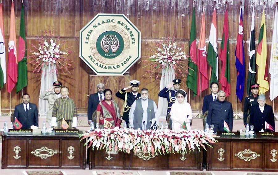 SAARC Heads of Governments, at the 12th  Summit in Islamabad where  SAFTA was signed, on January 6, 2004. (Photograph: PIB)