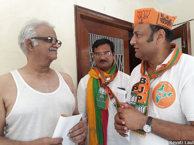 """Bharatiya Janata Party legislator from Varanasi Cantonment Saurabh Srivastava campaigns door to door for the Prime Minister in the largely upper-caste neighbourhood of Chandrika Nagar. Most people said exactly what Srivastava expected to hear: """"We are all <em>pucca </em>(firm) Modi voters."""" &nbsp;"""