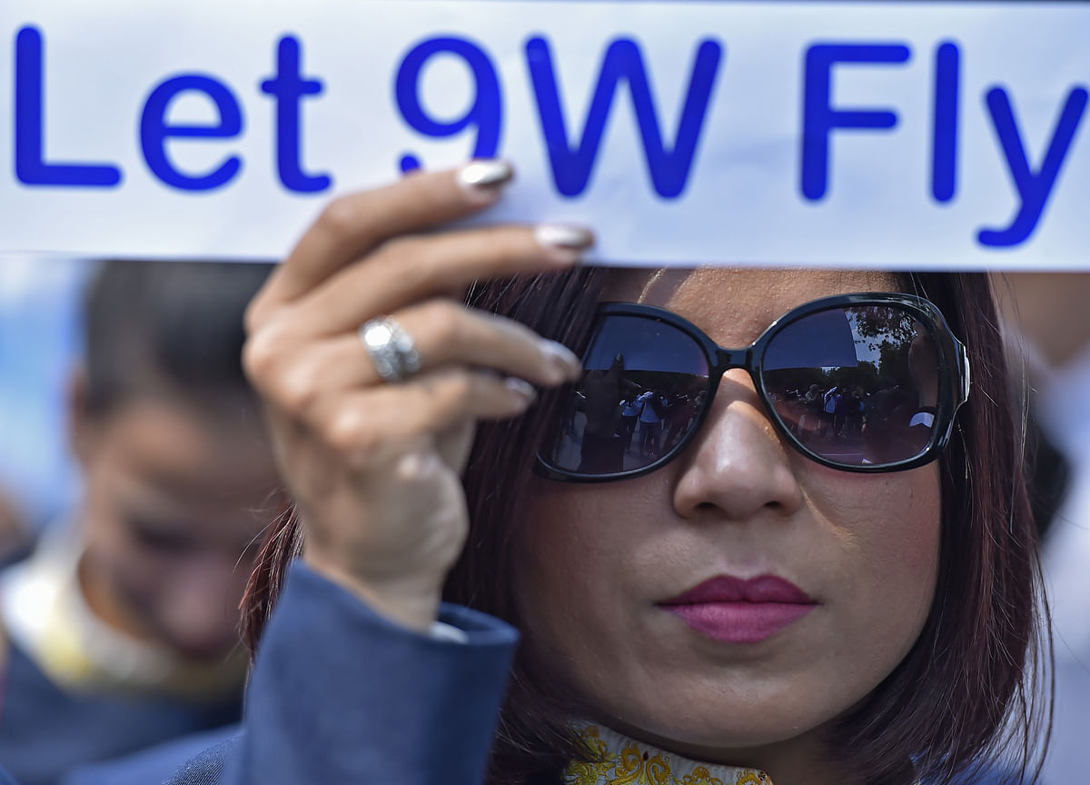 Jet Airways' Employees Protest Outside Civil Aviation Ministry