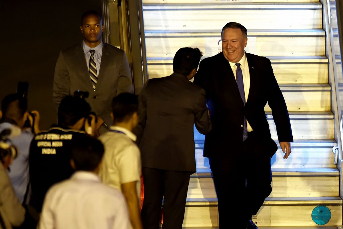 U.S. Secretary of State Mike Pompeo arrives at AFS Palam, in New Delhi (Source: PTI)