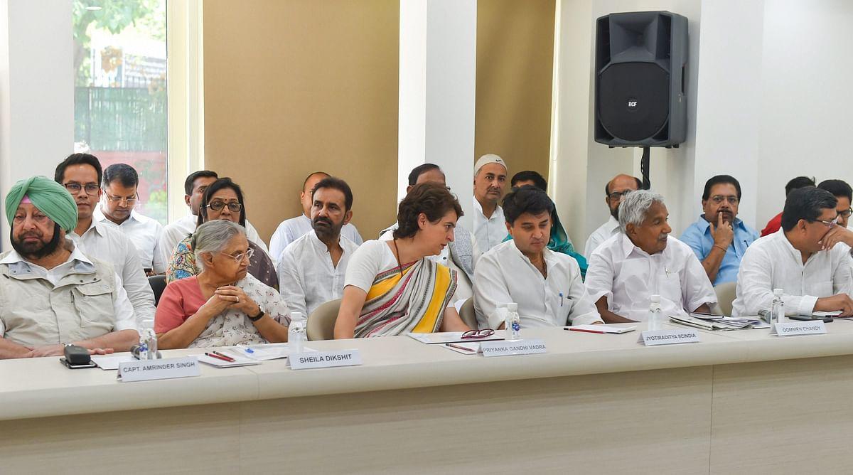 Amarinder Singh, Sheila Dikshit, Priyanka Gandhi, Jyotiraditya Scindia, Oommen Chandy, and Mukul Wasnik, at a Congress Working Committee meeting in New Delhi, on May 25, 2019. (Photograph: PTI)