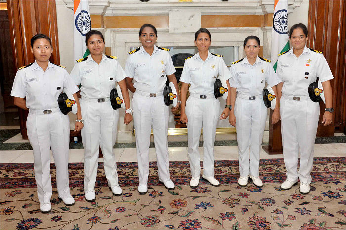 The all-women naval officer crew that circumnavigated the globe a year ago. (Photo: Indian Navy)