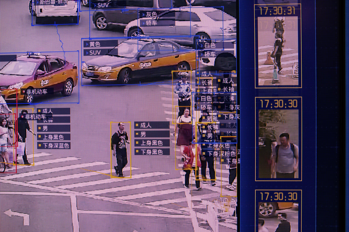 A screen shows a demonstration of the SenseVideo pedestrian and vehicle recognition system at the company's showroom in Beijing, China, on June 15, 2018. (Photographer: Gilles Sabrie/Bloomberg)