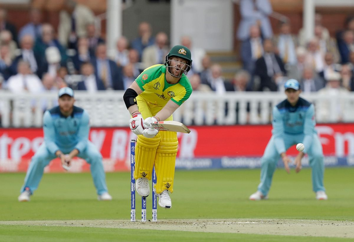 Australia's David Warner jumps while trying to play a shot in the league game against England, in London, on June 25, 2019. (Photograph: AP/PTI)
