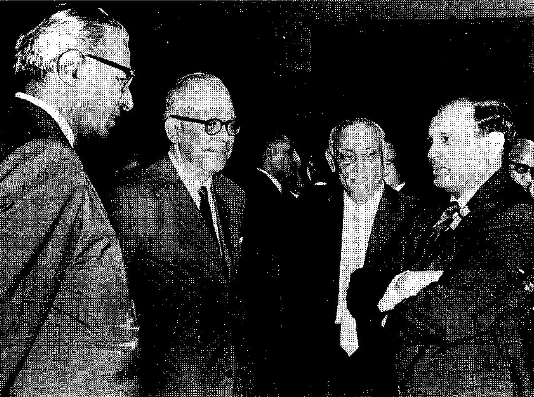 RBI Governor PC Bhattacharya with bankers in July 1966. (Photograph: RBI History)