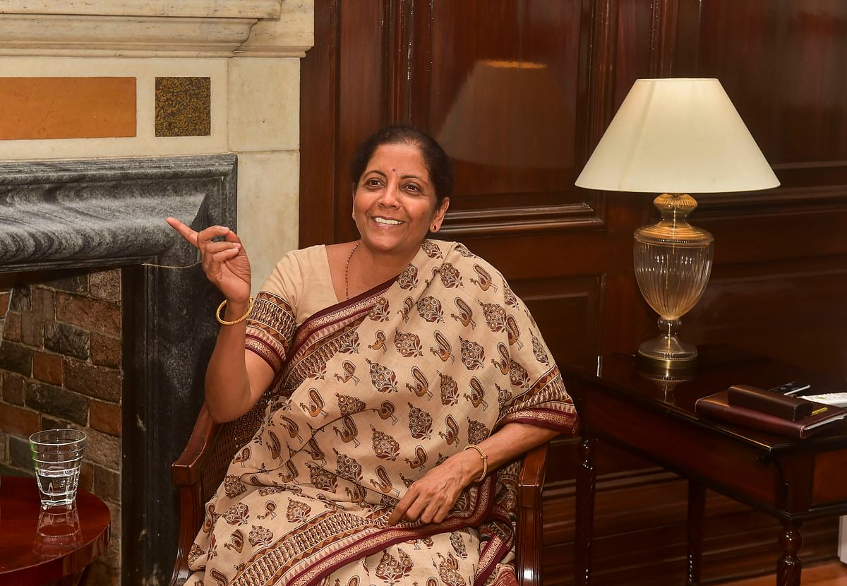 Finance Minister Nirmala Sitharaman at her office in New Delhi. (Photograph: PTI)