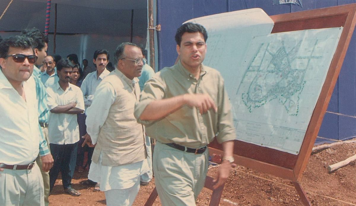 Sajjan Jindal, chairman and managing director of JSW Steel, at the Bellary site in 1995 (Image: JSW Steel)